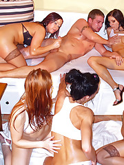 One horny guy fucking five hot babes hardcore