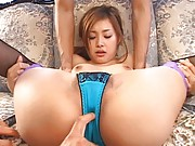 Suzuka Ishikawa in blue thong has firm chest squashed by fellows