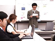Reon Otowa Asian office worker gives upskirt shot in a meeting
