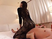 Japanese AV Model with oiled lace full body rubs dick with ass