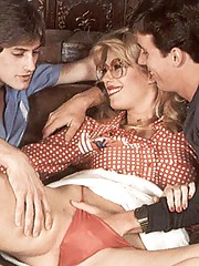 Two seventies guys helping a horny hairy lady