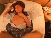 Japanese AV Model lays with cum on face after she was pumped well