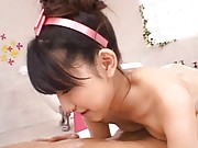 Yuki Aito Asian miss pours water on dude´s back to wash him naked