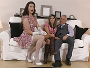 Two cute clothed beauties shagged by a dick