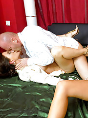 Bald horny guy banging two willing hot chicks