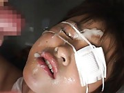 Asuka Sawaguchi is screwed and gets sperm on face with bandages