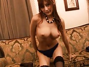 Kirara Asuka Asian in thong and stockings plays with big boobs