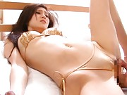 Japanese AV Model has orgasm from tongue licking her fish taco