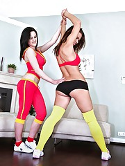 Fucking hot ass euro teen in yellow work out stocking pounded hard in  these screaming sex vids