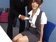 Rio Asian beauty massages boss and gets one vibrator on shoulders