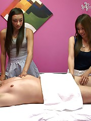 2 super hot asian teens fucked in this real massage spy can threesome sex