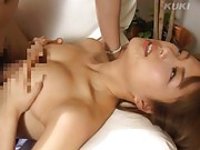 Yua Aida Asian with fine chest rubs phallus between them so hot