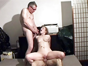 Horny old seniors shagging a babe hardcore