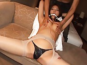 Aya Matsuki Asian has huge hole in stockings and sex toys on tits