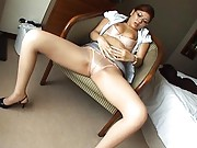 Aya Matsuki Asian has peach touched over thong and stockings