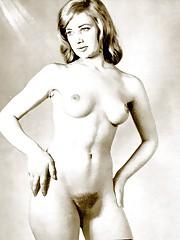 Very hairy naked beauties posing in fifties