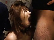 Japanese AV Model is forced to suck boner during rough doggy fuck