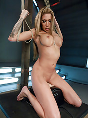 Man EATING MILF gets machine fucked, cums in record speeds, has exorcism-like orgasms and shows off her tits while the Sybian rips O