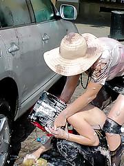 Cute hot car washing hotties playing together