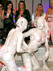 Dirty party girls enjoy wrestling publicly