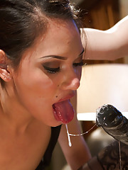 Hot kinky lesbian couple cuckold cute red headed business woman locking her away in chastity and making her pussy drip and yearns with excitement!