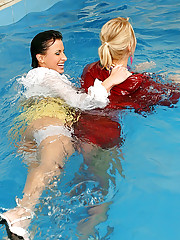 Three wet lesbians playing with each other