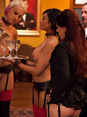Grace is back and puts the slaves through the paces of table service before using them to satisfy her sexual desires.