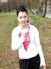 Hot brunette girl showing her attractive body