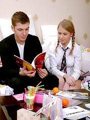 Skittish teenage schoolgirl plays with dick