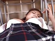Rei Aoi Asian has entire sex toy stuck in her pussy fucking it