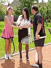 Sporty daring tennis girls nailed hardcore