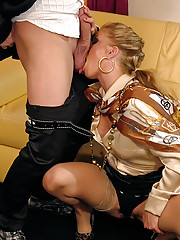 Clothed babe nailed by horny guy on a couch