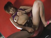 Rino Kamiya Asian squeezes her boobs and puts vibrator on pussy