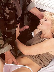 Seventies army lady is dreaming about dick