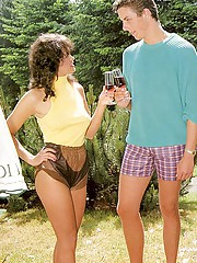 Seventies lady seducing a guy on the camping