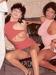 Two retro honeys pleasing a big dick together