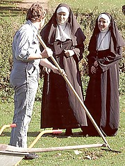 Two slutty retro nuns sharing the gardener