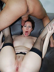 Hot redhead MILF taking the hard cock deep