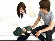 Sarah pretty schoolgirl kissing her boyfriend in the bedroom