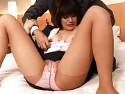Yuki Hibino Asian has stockings broke and nooky rubbed over thong