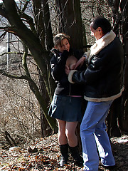 Horny girl fucking an old guy in the forest