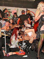 Punk rock cock gobbling groupsex party action