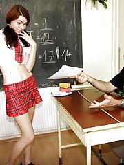 Schoolgirl banging her horny aging teacher