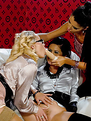 Three hot lesbians love pleasuring each other