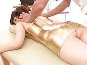 Saori Kurata Asian with ass out of golden dress gets massaged