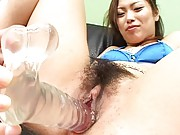 Yukari Mayama Asian with blue bra is happy to get dildos in peach