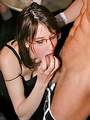 Hotties sucking very large stripper peckers