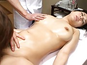 Sora Aoi Asian has cunt licked and boobies fondled at massage