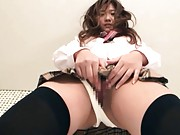 Hinami Kawasumi with long socks rubs beaver under school skirt