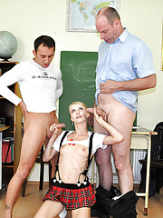 Naughty naked schoolgirl screwed by teachers